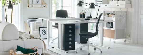 werkplek thuiswerken ergonomisch bureau skarsta ikea