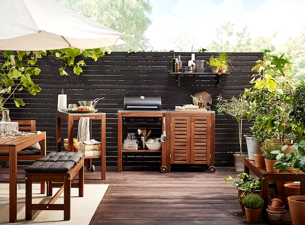 Acacia is a durable wood which works great for outdoor furniture such as IKEA ÄPPLARÖ series.