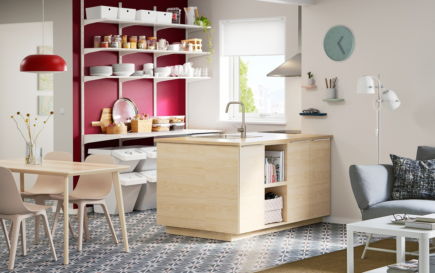 Add a Scandinavian modern kitchen to the centre of your open-plan kitchen, dining and living area with ASKERSUND doors and open storage in ash.