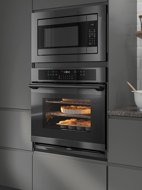 ADRÄTT wall convection oven, self-cleaning, black stainless steel.