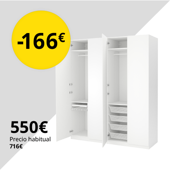 PAX Armario, blanco, Vikanes blanco, 200x60x236 cm