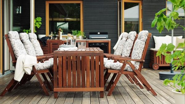 ÄPPLARÖ Állítható támlájú szék, kültéri, barna összecsukható barna pácolt barna.