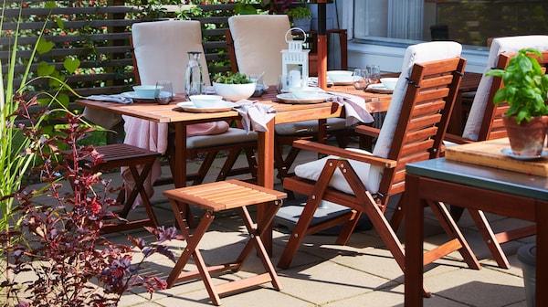 ÄPPLARÖ Sedia relax da giardino, marrone pieghevole mordente - IKEA