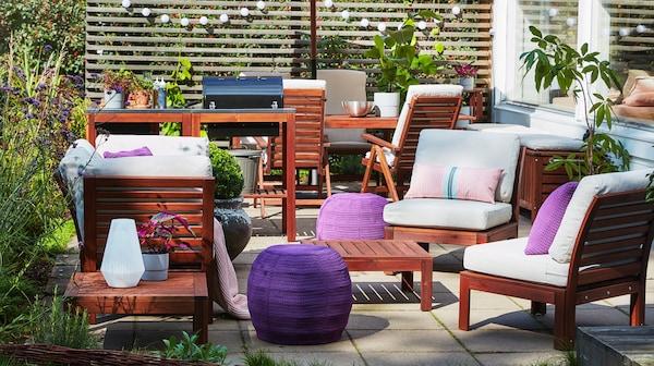 ÄPPLARÖ Seduta a 1 posto da giardino, OTTERÖN / INNERSKÄR Pouf da interno/esterno, viola - IKEA