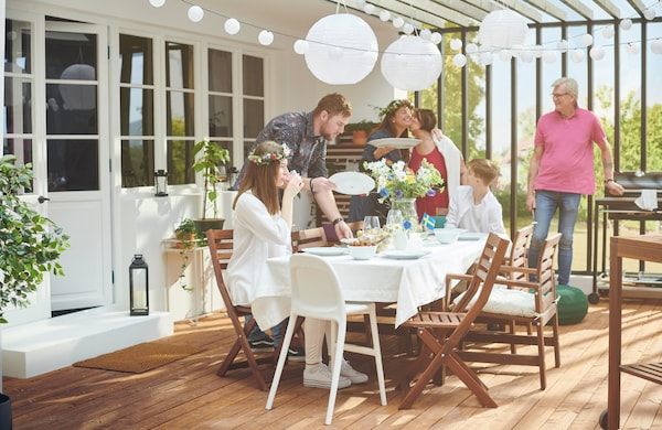 ÄPPLARÖ Tavolo+6 sedie braccioli, giardino, mordente marrone, Kuddarna beige - IKEA