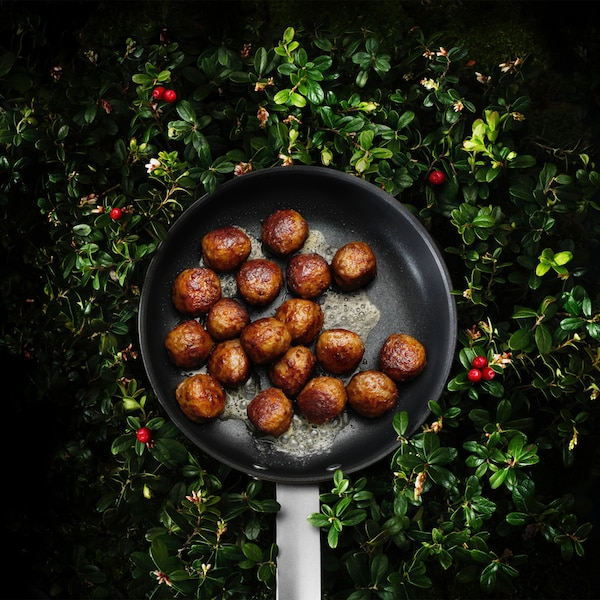 Aerial view of meatballs on a pan with a green bush in the background.