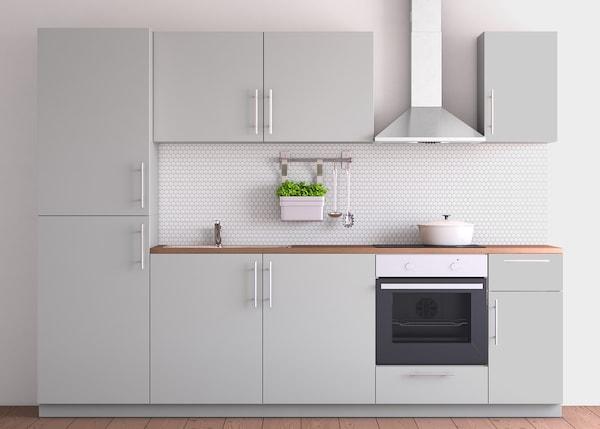 METOD Küchenzeile mit RINGHULT Hochglanz Fronten grau - IKEA