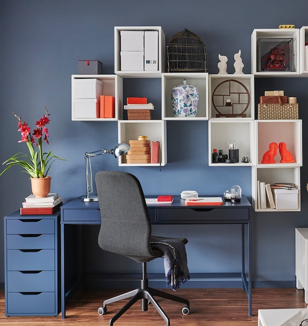 ALEX Blue two drawer desk with matching ALEX draws