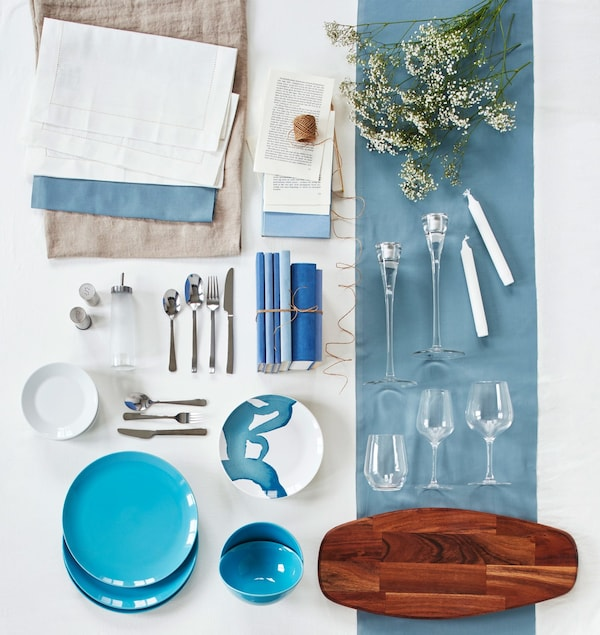 All the elements needed to create the table setting, laid out geometrically and displayed.