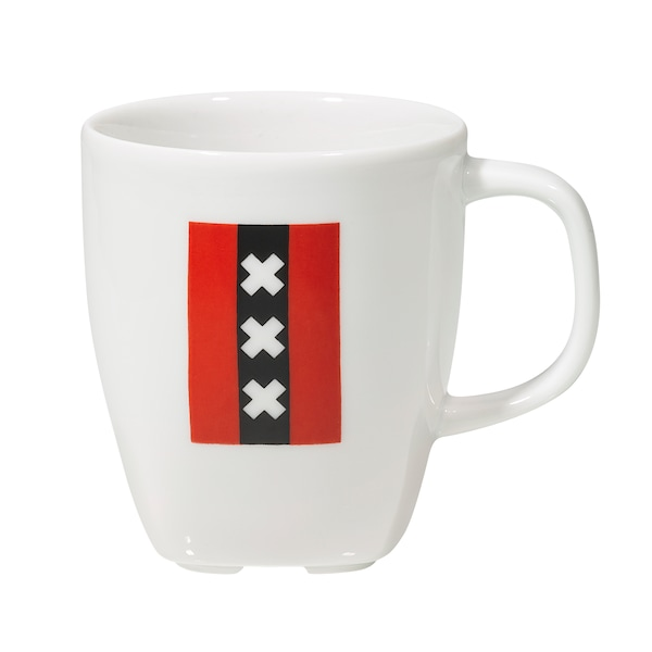 ALLMÄNNELIG mug with Amsterdam flag motif at IKEA Amsterdam