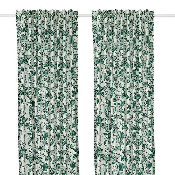 ALPKLÖVER Függönypár, fehér, sötétzöld, 145x300 cm.