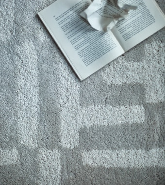 An aerial view of a plush patterned rug
