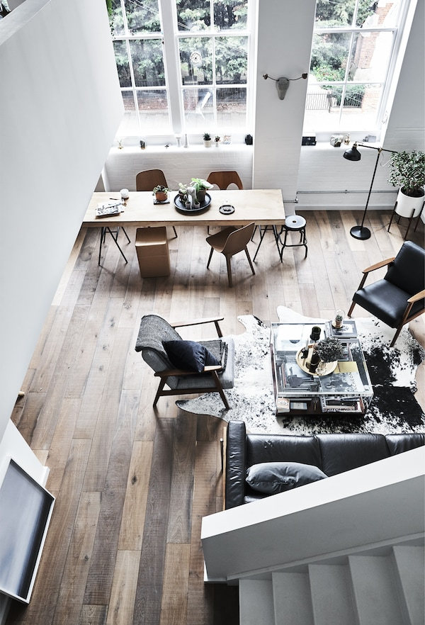An aerial view of an open-plan living area.