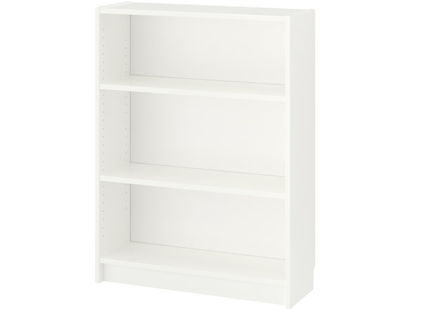 An assembled white BILLY bookcase, with adjustable shelves, against a white background.
