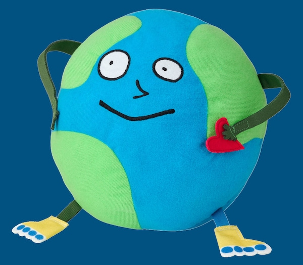 An earth soft toy from the SAGOSKATT Collection against a dark blue background.
