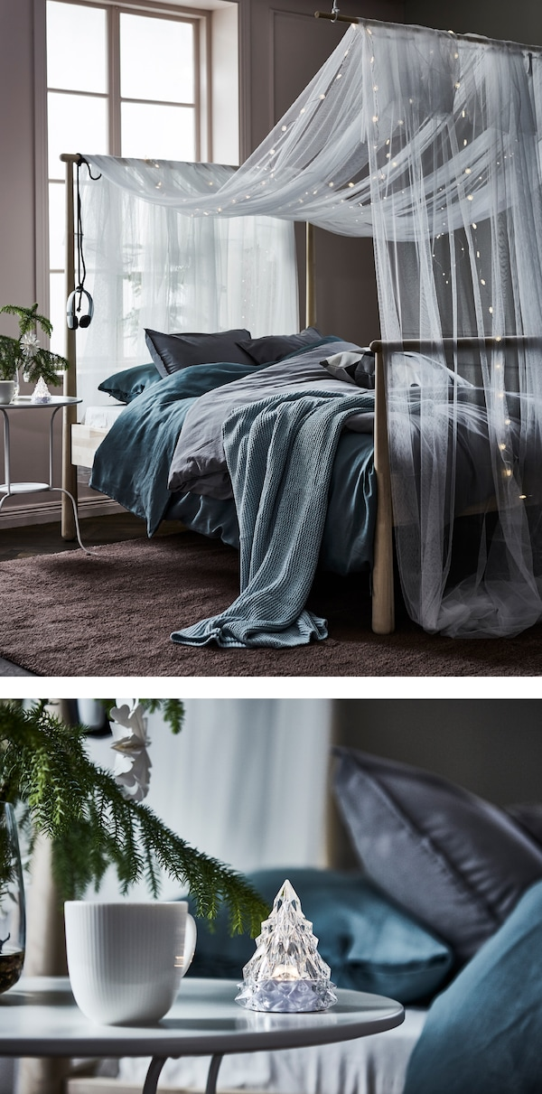An ethereal textile, dreamy light chains, cozy linens and a comfortable bed provide a relaxing place to get away from it all.