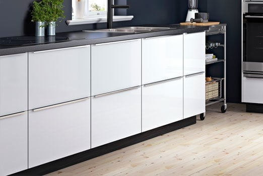 An IKEA Kitchen With White Base Cabinets