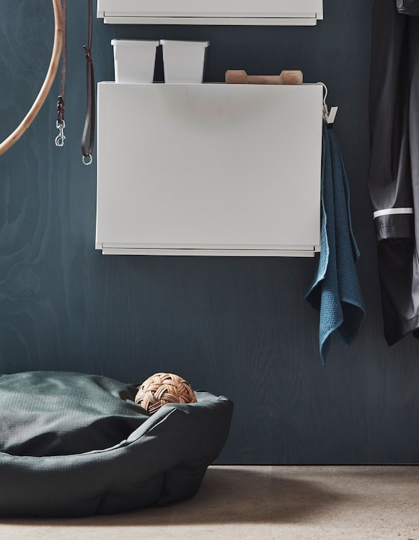 An IKEA TRONES shoe cabinet in a hallway stores dog accessories and is mounted above a dog bed.