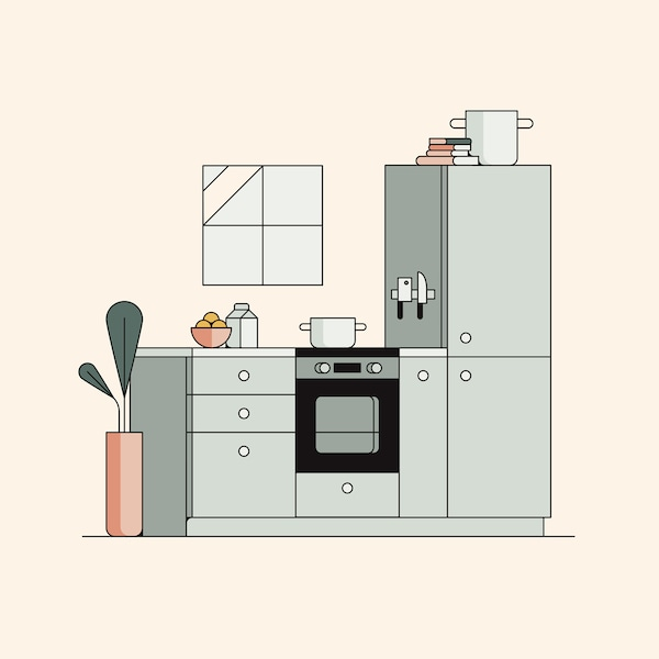 An illustrated image of a fitted kitchen with a pot on the hob, a high cabinet and a tall plant at the end of the countertop.