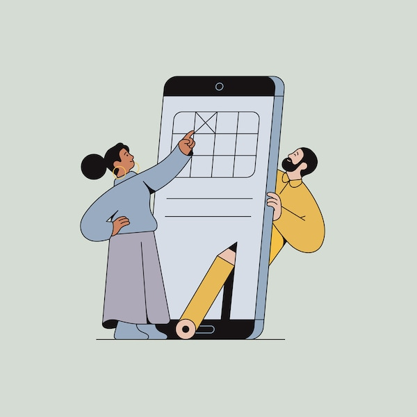 An illustrated image of a woman putting a cross on the screen of an oversized smartphone, with a man on the other side.