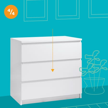 An illustrated white dresser on a blue wall with an arrow pointing to the middle of the dresser
