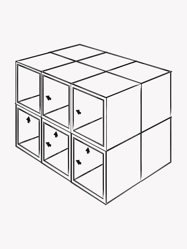 An illustration of 12 IKEA SEKTION cabinets in 2 rows of 3 on each side. Arrows indicate how to attach them together.
