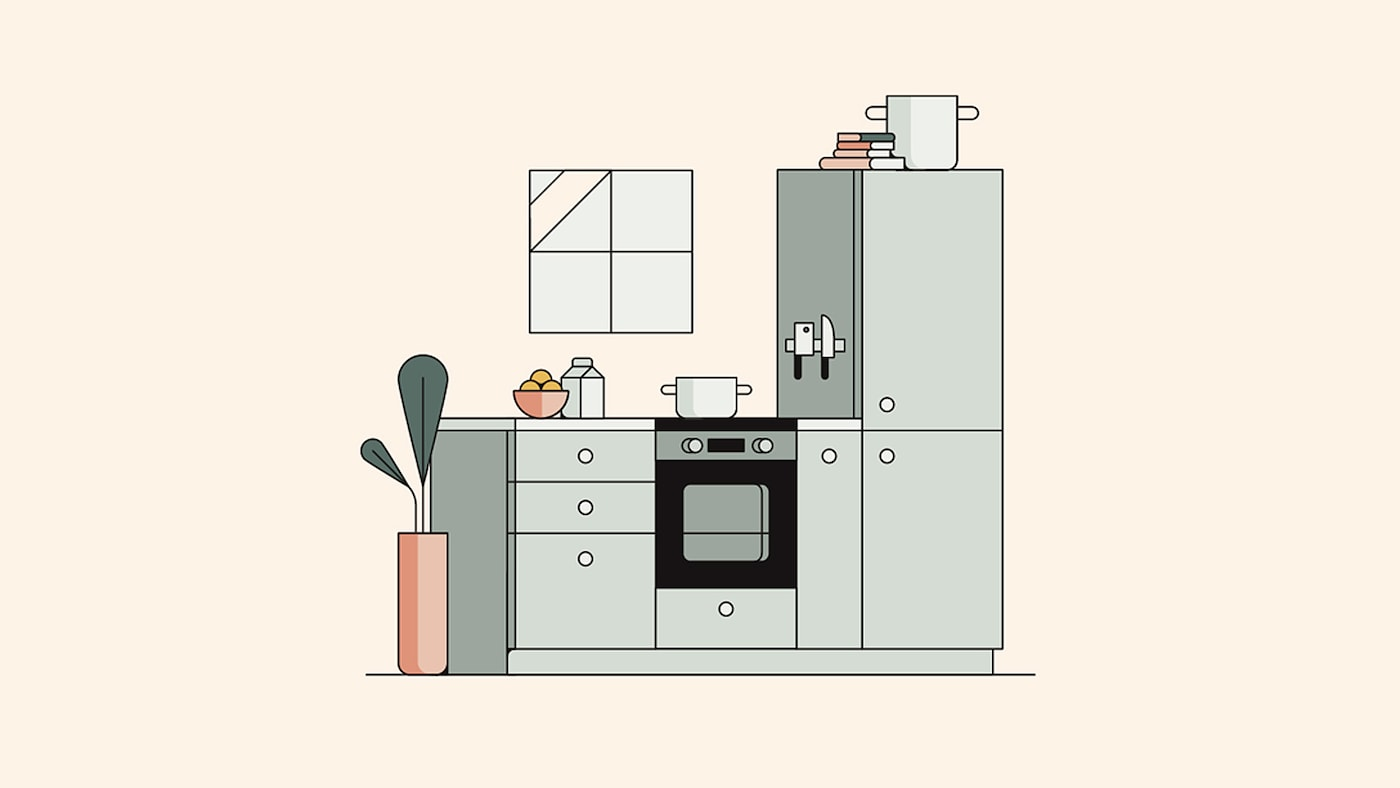 An illustration of a green kitchen with white knobs and worktop against a beige coloured wall with a small window.