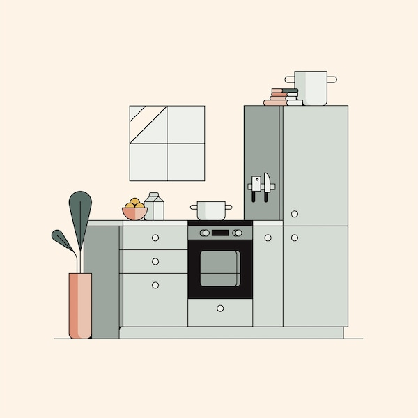 An illustration of a kitchen