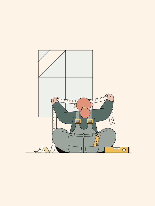 An illustration of a red-haired woman sitting on the floor holding a measuring tape in both hands in front of a window.