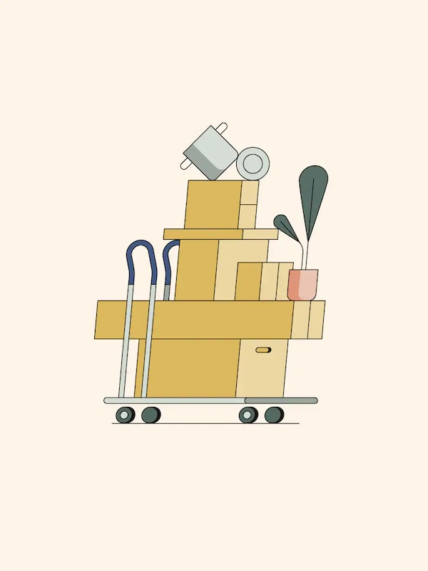 An illustration of a shopping trolley fully stacked with packages, a potted plant, and a pot and lid balancing on top.
