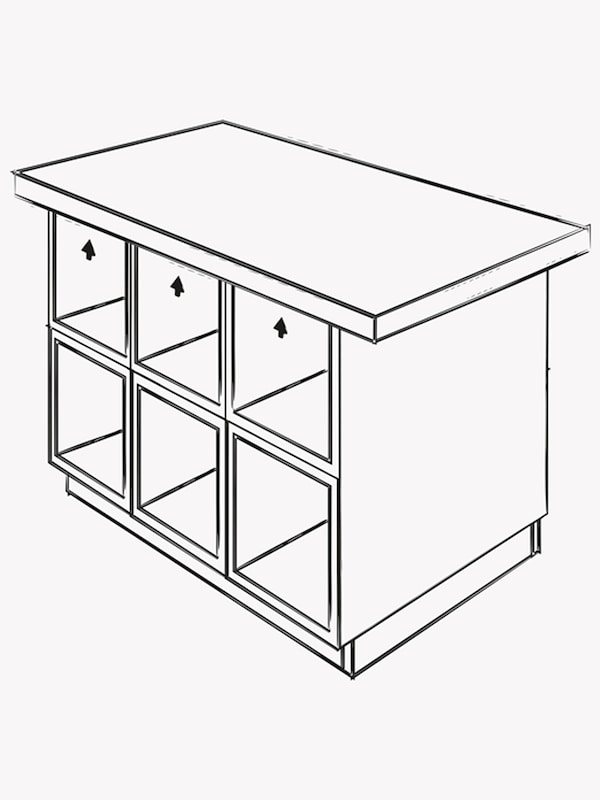 An illustration of cabinets forming an island on top of a frame with a cover panel on the side and a larger countertop.
