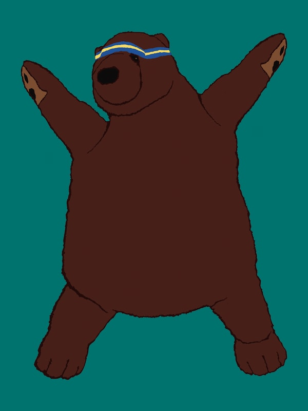 An illustration of DJUNGELSKOG brown bear, your personal trainer, doing a workout exercise.