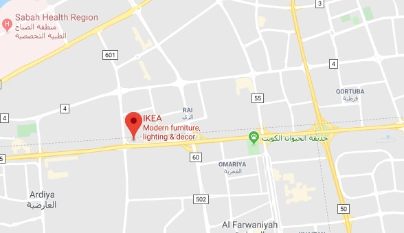 An image of a map showing the exact location of IKEA Kuwait with a red pin
