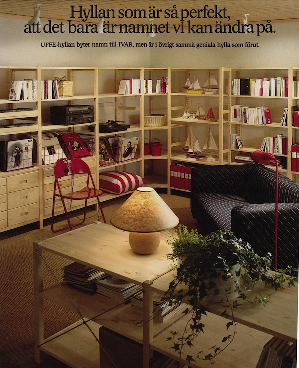 An image of the back of the 1984 IKEA catalogue showing the IVAR shelving units in a living room.