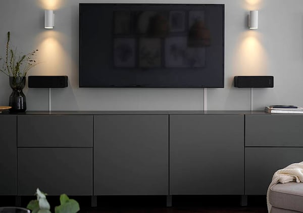 An image showing a grey IKEA BESTÅ TV and media furniture.