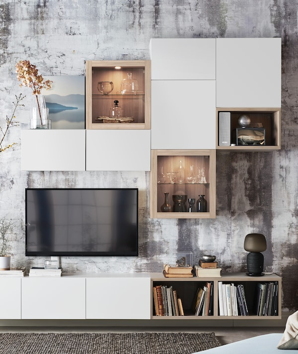 An image showing a white IKEA BESTÅ TV and media furniture.