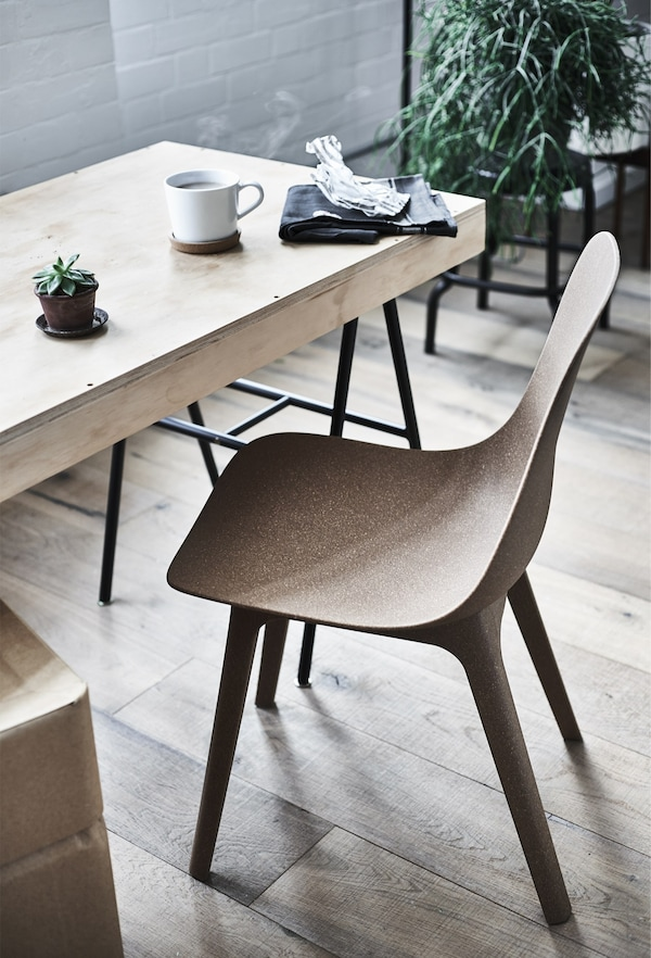 An ODGER chair and a homemade dining table.