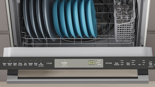 An open dishwasher with display showing