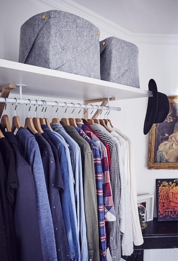 An open-storage wardrobe.