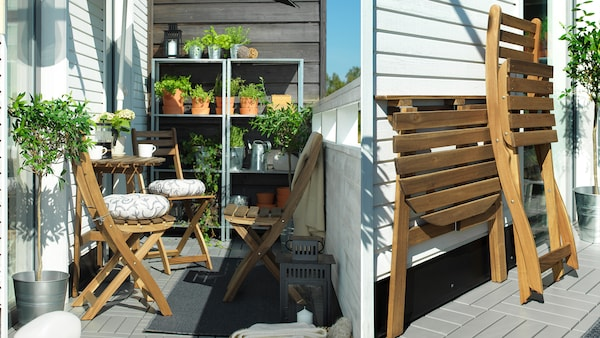 An outdoor with a nature table and chairs with metal open cabinets have plants and pots.