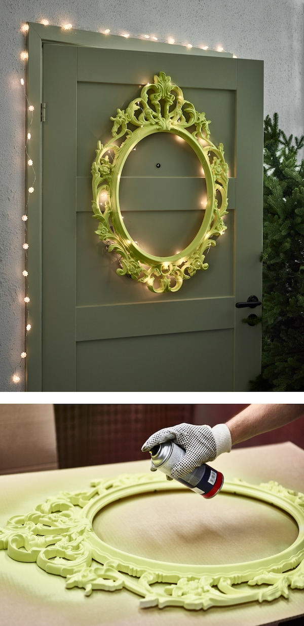 Are you in need of some house decorating ideas in time for the holidays? Why not update a frame with spray paint and pimp it with fairy lights as a nice door deco piece! IKEA offers a lot of frames such as UNG DRILL.