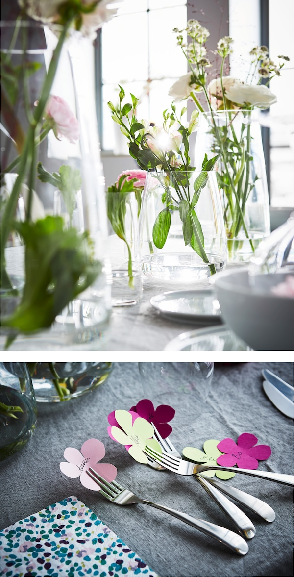 Are you looking for kitchen decor ideas? Go for a table setting with several different vases that form a centrepiece. IKEA offers a lot of vases, such as BERÄKNA vase in clear glass.
