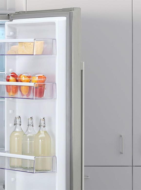 Arefrigerator with a door open