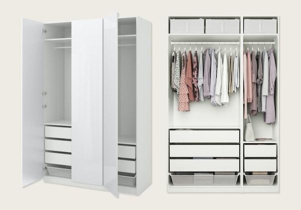 Armario, blanco, Fardal alto brillo/blanco, 150x60x236 cm