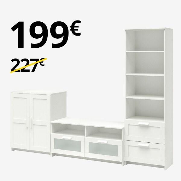 Armario + Librería + Mueble TV BRIMNES blanco