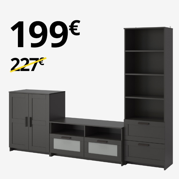 Armario + Librería + Mueble TV BRIMNES negro