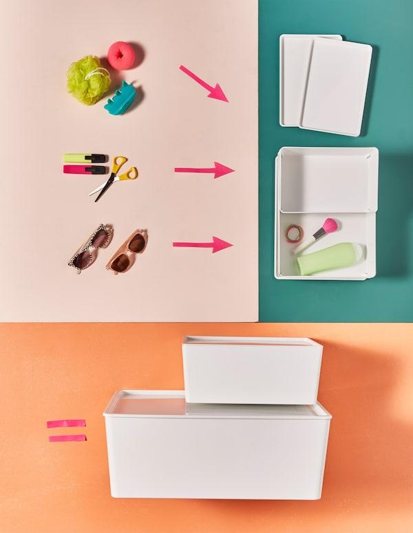 Articles de toilette et petites fournitures de bureau rangés dans des boîtes