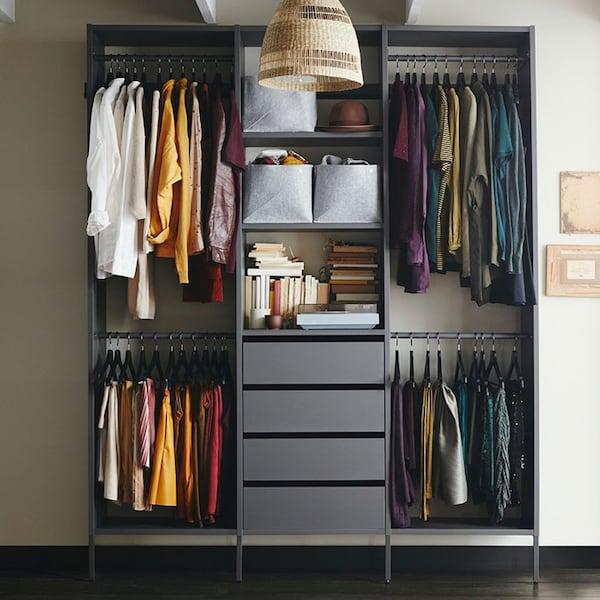 AURDAL wardrobe combination in dark grey.