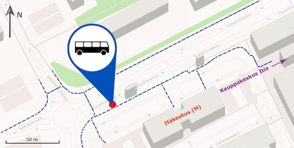 IKEA-bussin Itäkeskuksen pysäkin sijainti kartalla