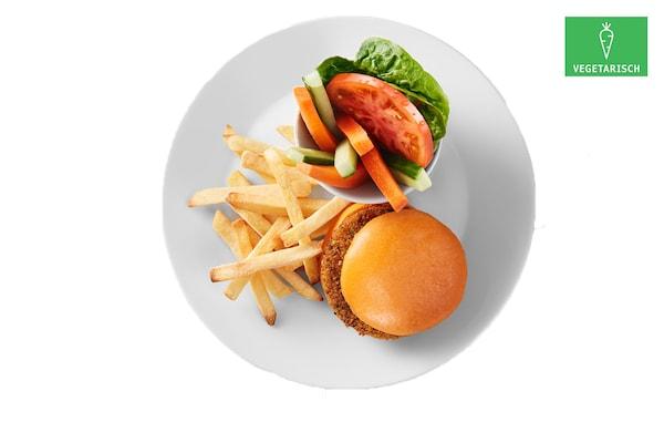 Plantaardige kidsburger met friet